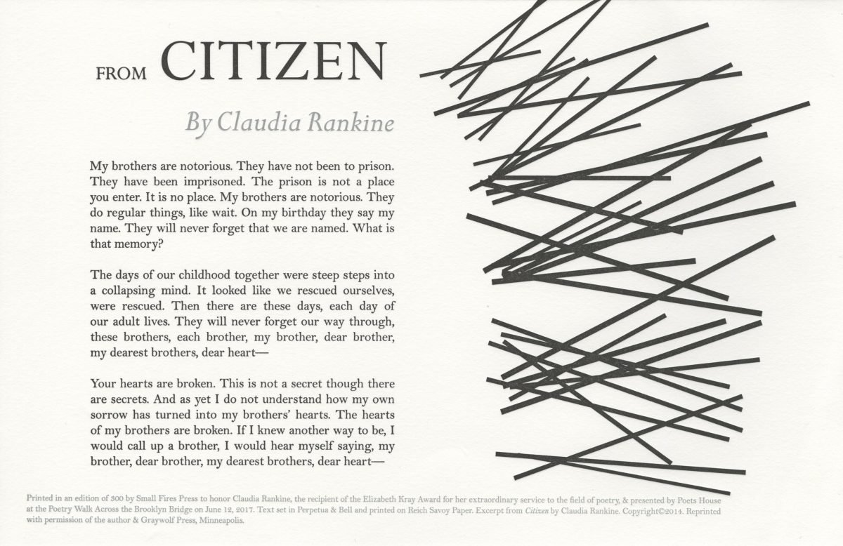 Claudia Rankine, Citizen, 2017, Small Fires Press, letterpress.