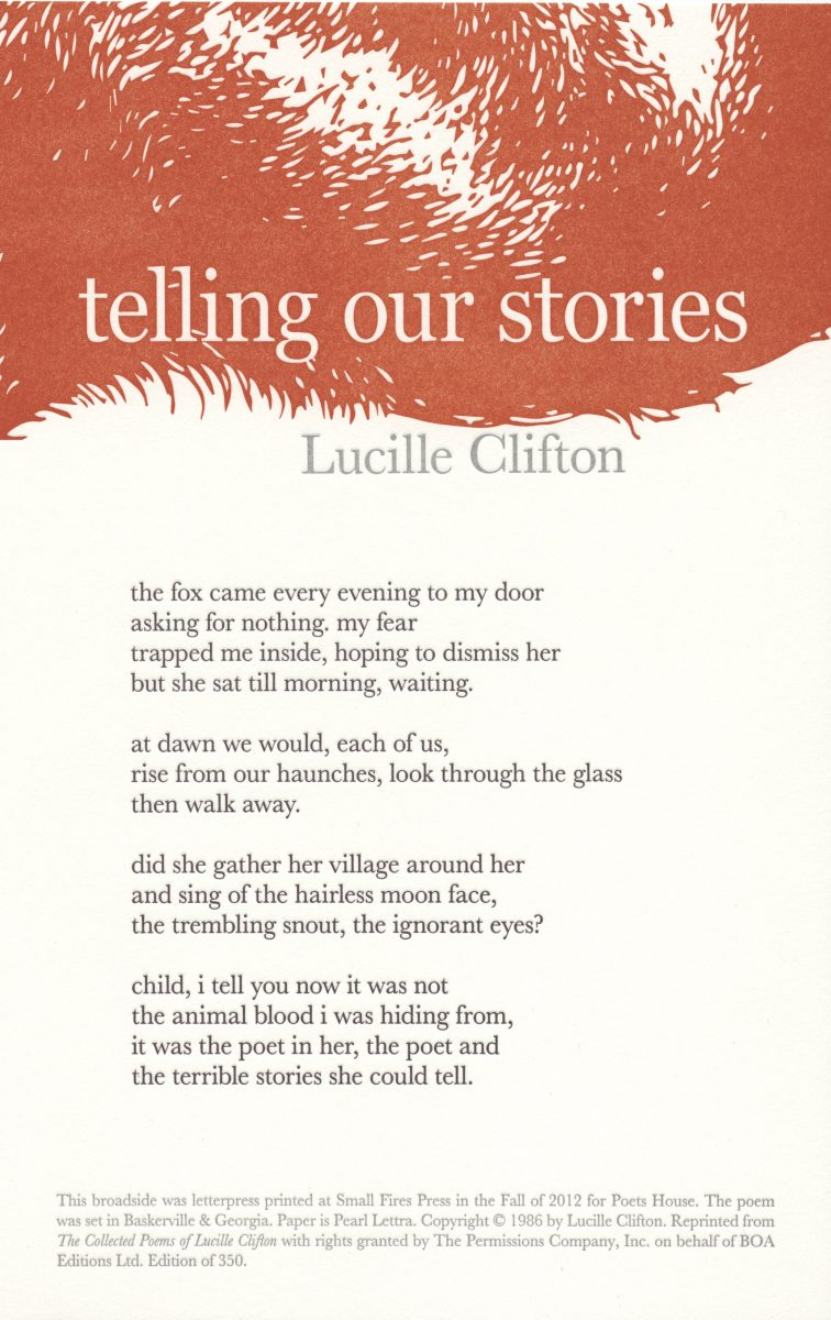 Lucille Clifton, Telling Our Stories, 2012