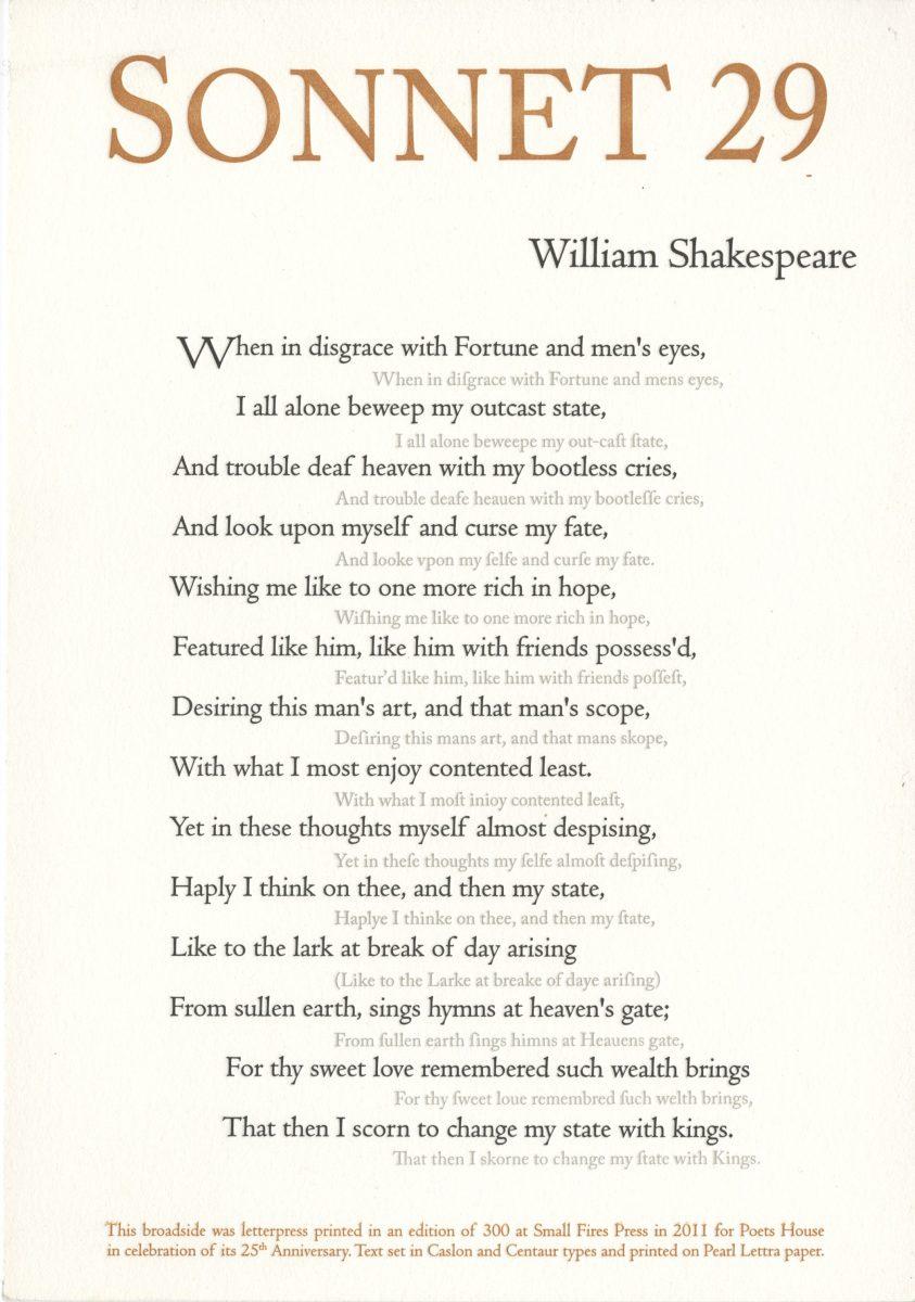 William Shakespeare, Sonnet 29, 2011, Small Fires Press, letterpress.