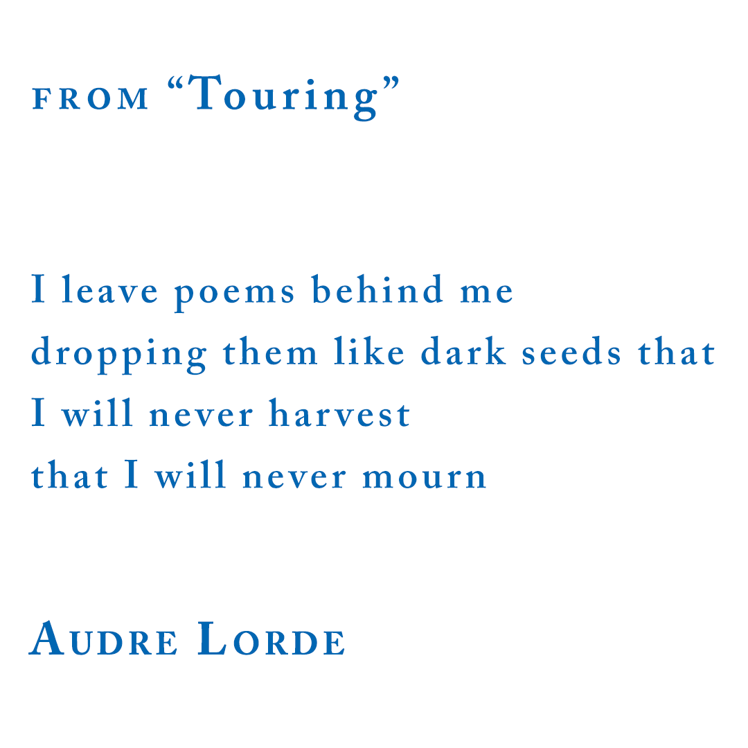 "Audre Lorde, from ""Touring"""