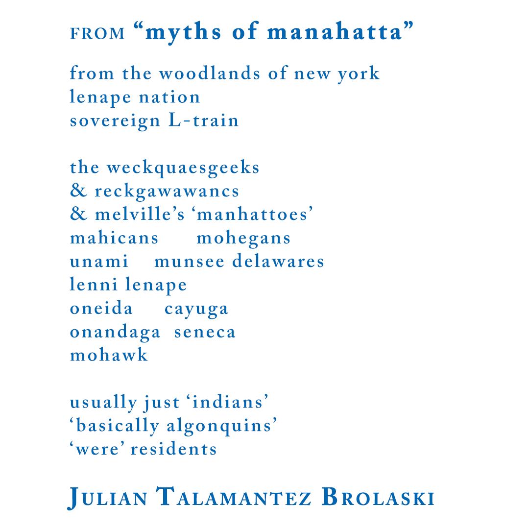 "Julian Talamantez Brolaski, from ""myths of manahatta"""
