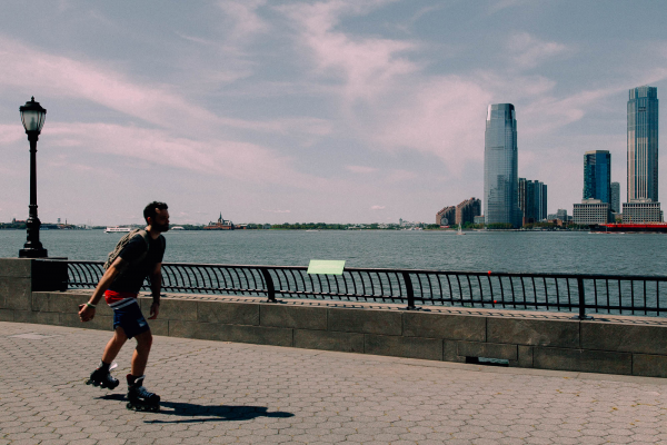 Patricia Smith from Practice Standing Unleashed and Clean on location in Battery Park City! Photo by Daniel Terna