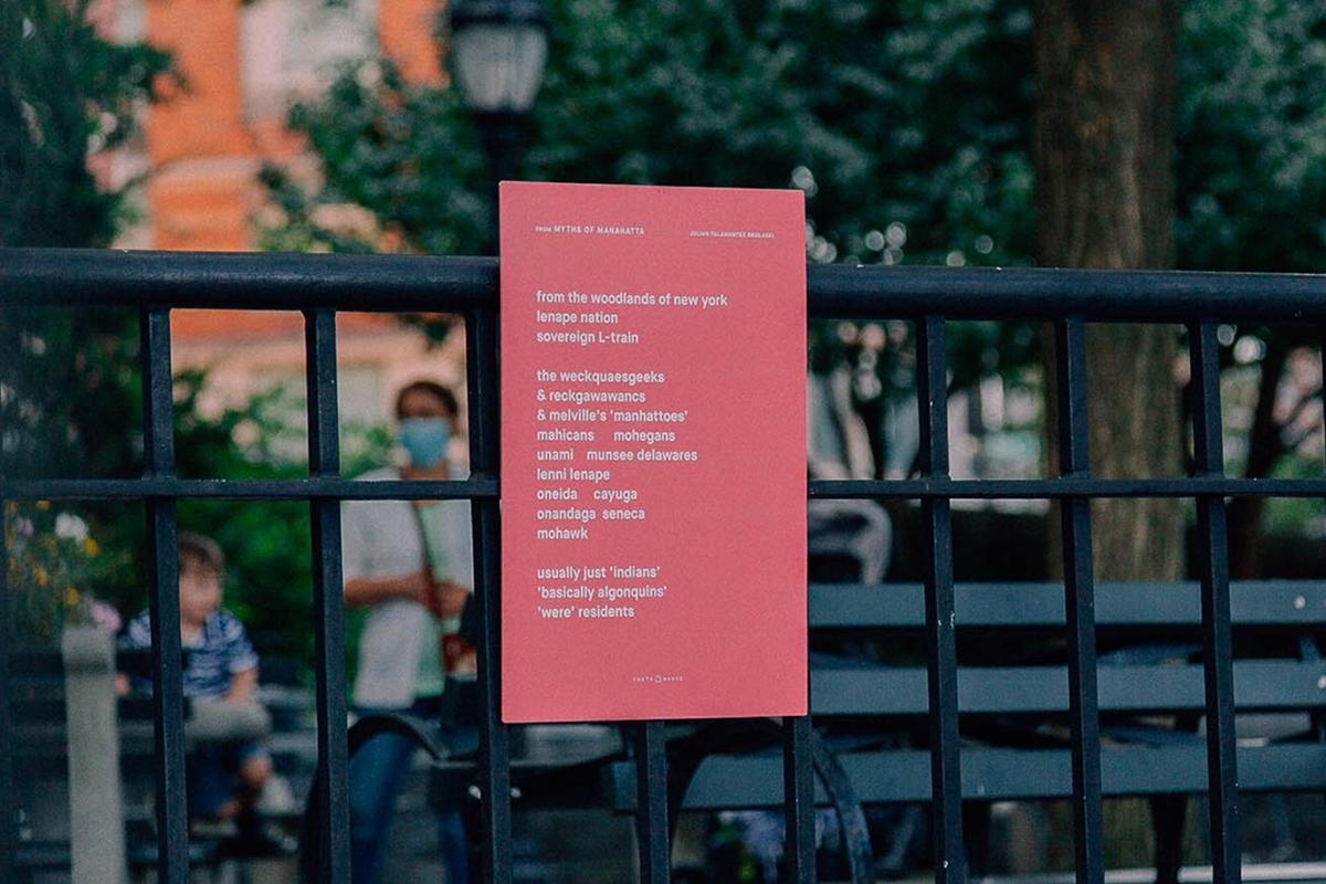 "Julian Talamantez Brolaski, ""myths of manahatta"" from gowanus atropolis, on location in Battery Park City."