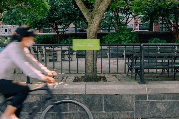 "Juan Ramón Jiménez, from ""Time, Give Me the Secret,"" tr. Ralph Nelson & Rita García Nelson, on location in Battery Park City! Photo by Daniel Terna."