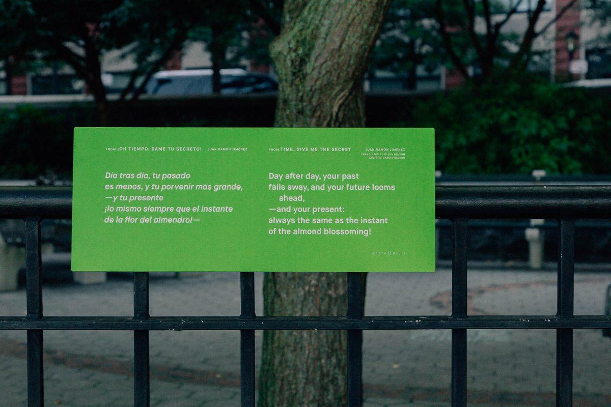 "Juan Ramón Jiménez, from ""Time, Give Me the Secret,"" tr. Ralph Nelson & Rita García Nelson, on location in Battery Park City!"