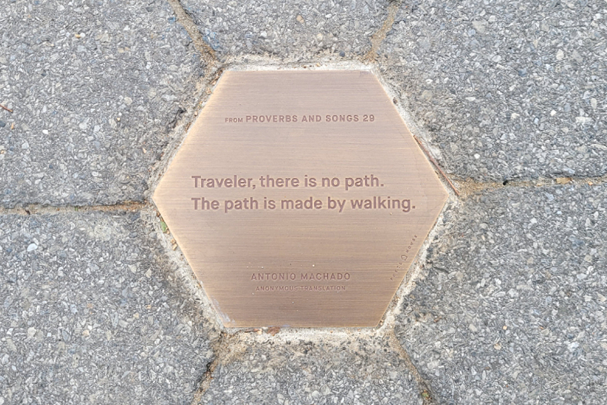"""Antonio Machado, from """"Proverbs and Songs 29,"""" on location in Battery Park City."""