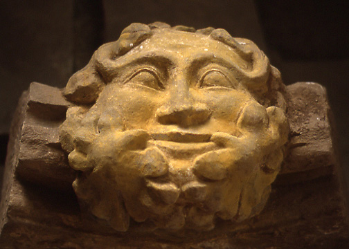 Green man carving, Abbey Dore, Herefordshire, England