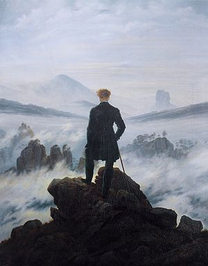 Painting:  Wanderer above the Sea of Fog by Caspar David Friedrich