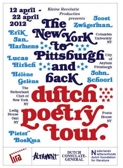 Dutch Poetry Tour flyer, Poetry Readings NYC, Poetry NYC